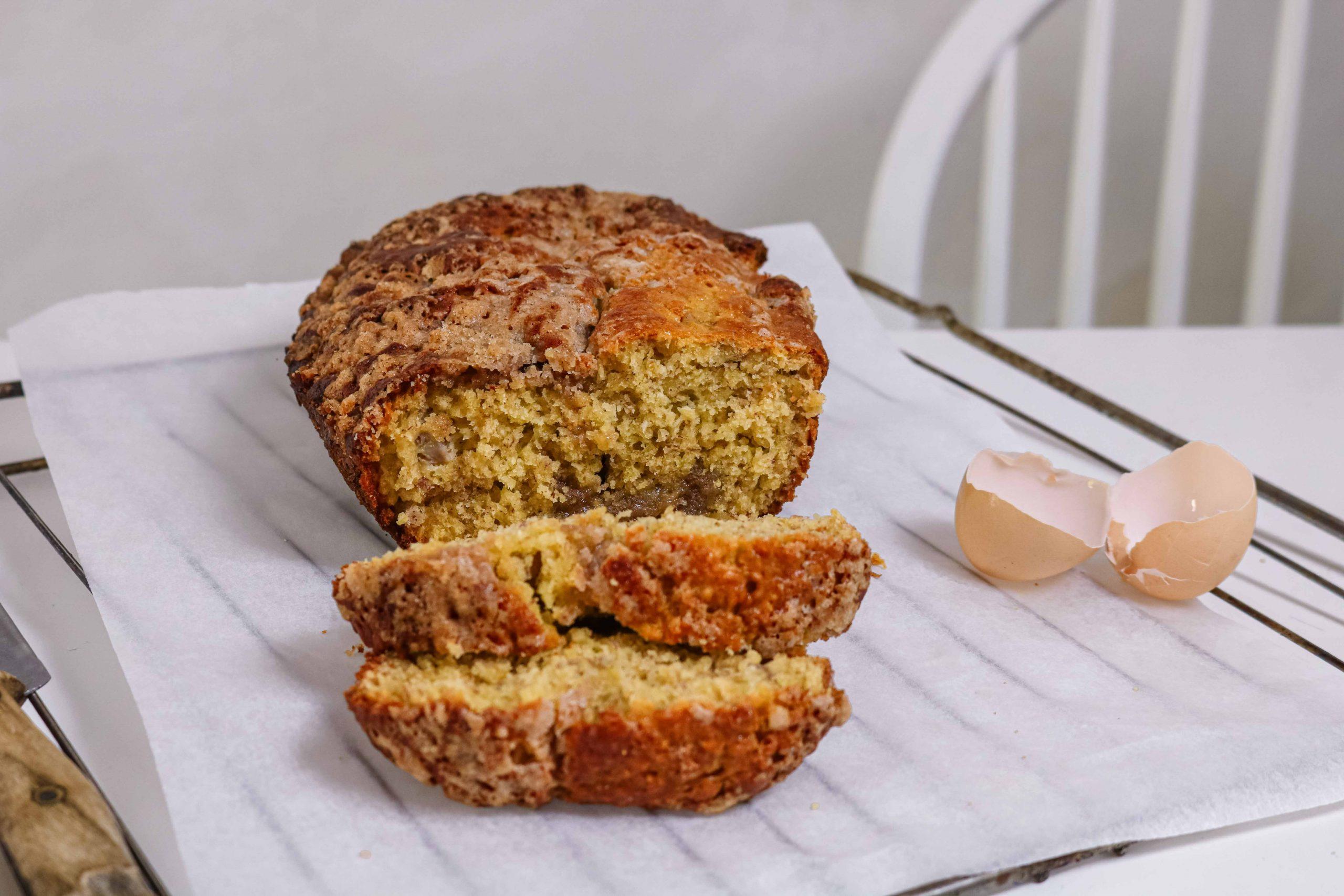 recette banana bread coupé en tranches